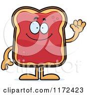 Cartoon Of A Waving Toast And Jam Mascot Royalty Free Vector Clipart by Cory Thoman