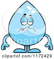 Cartoon Of A Sick Water Drop Mascot Royalty Free Vector Clipart by Cory Thoman