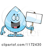 Cartoon Of A Happy Water Drop Mascot With A Sign Royalty Free Vector Clipart by Cory Thoman