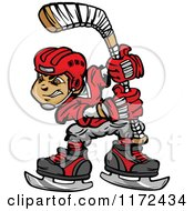 Cartoon Of A Hockey Player Holding Up A Stick Royalty Free Vector Clipart