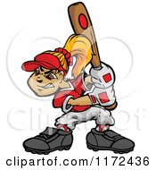 Cartoon Of A Softball Player Girl Batting Royalty Free Vector Clipart