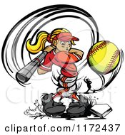 Cartoon Of A Twisted Softball Player Girl Swinging At A Ball With A Pitcher In The Background Royalty Free Vector Clipart