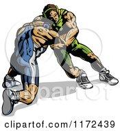 Muscular Wrestlers In A Match