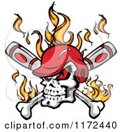 Red Eyed Baseball Skull Wearing A Helmet Over Flames And Crossed Bats