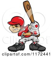 Cartoon Of A Baseball Boy Holding A Wooden Bat Royalty Free Vector Clipart
