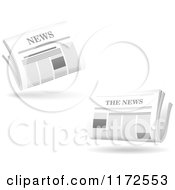 Clipart Of Floating Newspapers And Shadows Royalty Free Vector Illustration