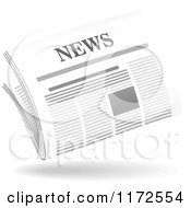 Clipart Of A Floating Newspaper And Shadow Royalty Free Vector Illustration