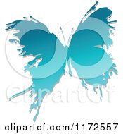 Clipart Of A Blue Ink Splatter Butterfly Royalty Free Vector Illustration by Vector Tradition SM