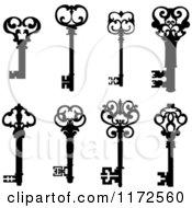 Clipart Of Black And White Antique Skeleton Keys 2 Royalty Free Vector Illustration