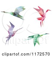 Clipart Of Flying Origami Herons Or Cranes Royalty Free Vector Illustration