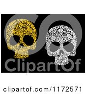 Clipart Of Yellow And White Floral Skulls On Black Royalty Free Vector Illustration by Vector Tradition SM
