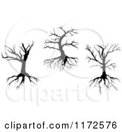 Clipart Of Silhouetted Dead Trees And Roots Royalty Free Vector Illustration by Vector Tradition SM