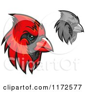 Clipart Of Grayscale And Red Cardinal Heads Royalty Free Vector Illustration