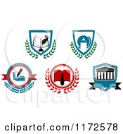 Clipart Of A University Or College Heraldic Designs Royalty Free Vector Illustration