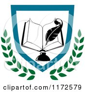Clipart Of A University Or College Book And Ink Well With Pen Shield Heraldic Design Royalty Free Vector Illustration
