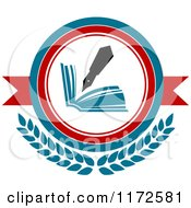 Clipart Of A University Or College Fountain Pen And Book Heraldic Design Royalty Free Vector Illustration