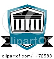 Clipart Of A University Or College Building Shield And Banner Heraldic Design Royalty Free Vector Illustration