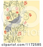 Clipart Of A Gray Bird On A Floral Vine Over Yellow Royalty Free Vector Illustration