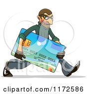 Clipart Of A Hacker Identity Thief Carrying A Credit Card Royalty Free Vector Illustration