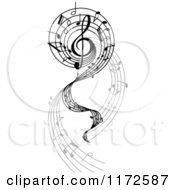 Clipart Of A Music Swirl With Notes Royalty Free Vector Illustration