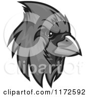 Clipart Of A Grayscale Cardinal Head Royalty Free Vector Illustration