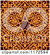 Clipart Of A Seamless Brown And Orange Arabic Or Islamic Design Royalty Free Vector Illustration