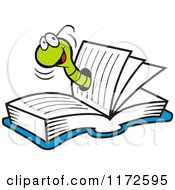 Cartoon Of A Happy Green Wom In A Book Royalty Free Vector Clipart by Johnny Sajem