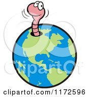 Cartoon Of A Happy Pink Worm Emerging From A Hole In Earth Royalty Free Vector Clipart by Johnny Sajem
