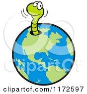 Cartoon Of A Happy Green Worm Emerging From A Hole In Earth Royalty Free Vector Clipart by Johnny Sajem