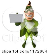 Clipart Of A 3d Super Hero Man In A Green Costume Holding Out A Business Card Royalty Free CGI Illustration