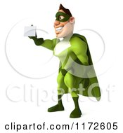 Clipart Of A 3d Super Hero Man In A Green Costume Holding Out A Business Card 2 Royalty Free CGI Illustration