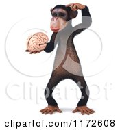 Clipart Of A 3d Thinking Chimp Holding A Brain Royalty Free CGI Illustration