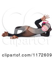 Clipart Of A 3d Female Chimp Reclined And Waving Royalty Free CGI Illustration