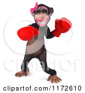 Clipart Of A 3d Female Boxing Chimp 5 Royalty Free CGI Illustration