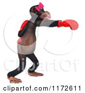 Clipart Of A 3d Female Boxing Chimp 6 Royalty Free CGI Illustration