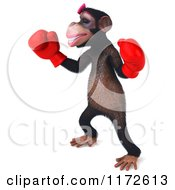 Clipart Of A 3d Female Boxing Chimp 3 Royalty Free CGI Illustration