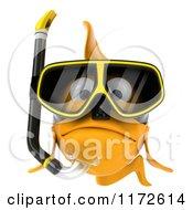 Clipart Of A 3d Sad Snorkeling Goldfish Royalty Free CGI Illustration