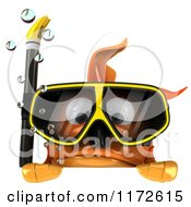 Clipart Of A 3d Snorkeling Goldfish Over A Sign Royalty Free CGI Illustration