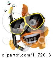 Clipart Of A 3d Snorkeling Goldfish By A Sign Royalty Free CGI Illustration