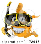 Clipart Of A 3d Snorkeling Goldfish 4 Royalty Free CGI Illustration