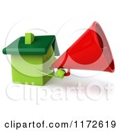 Clipart Of A 3d Green House Mascot Announcing With A Megaphone Royalty Free CGI Illustration