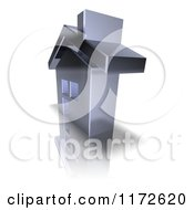 Clipart Of A 3d Chrome House At A Side Angle Royalty Free CGI Illustration