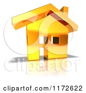 Clipart Of A 3d Gold House Royalty Free CGI Illustration
