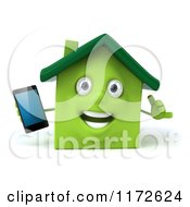 Clipart Of A 3d Green House Mascot Holding A Smart Phone And Gesturing To Call Royalty Free CGI Illustration