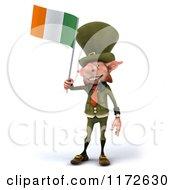 3d Leprechaun Holding An Irish Flag