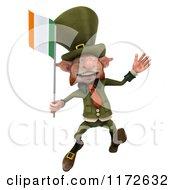 3d Leprechaun Jumping With An Irish Flag