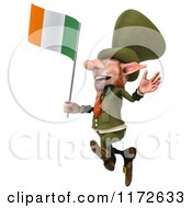 3d Leprechaun Jumping With An Irish Flag 2