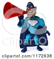 Clipart Of A 3d Announcing Black Super Hero Man In A Blue Costume 2 Royalty Free CGI Illustration