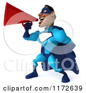 Clipart Of A 3d Announcing Black Super Hero Man In A Blue Costume Royalty Free CGI Illustration
