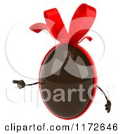 Clipart Of A 3d Pointing Chocolate Easter Egg Mascot With A Red Bow Royalty Free CGI Illustration